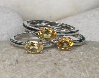 November Birthstone Stack Simple Ring- Oval Citrine Silver Ring- Yellow Topaz Prong Ring- 3 Ring Set- Yellow Gemstone Dainty Ring