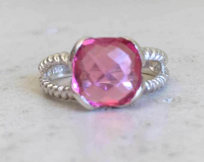 Double Band Pink Statement Ring- Pink Topaz Rope Band Ring- Solitaire Pink Quartz Ring- Pink Gemstone Sterling Silver Ring