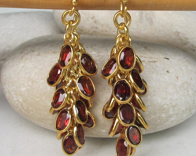 Garnet Earring Cluster Dangle- Garnet Cascade Drop Earring- Red Beaded Long Earring- January Birthstone Earring- Rose Gold Garnet Earring