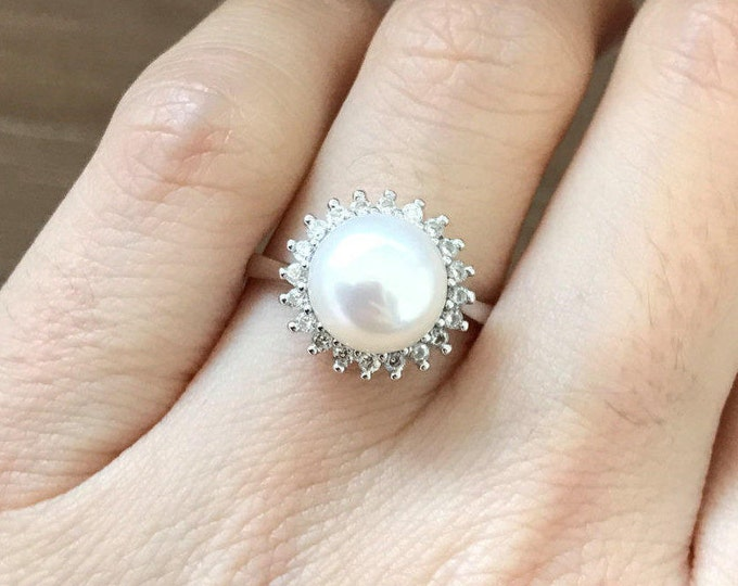 Genuine Pearl Engagement Ring- Natural Real Pearl Ring- Freshwater Pearl Adjustable Ring Round Promise Ring Halo Engagement Ring June Ring