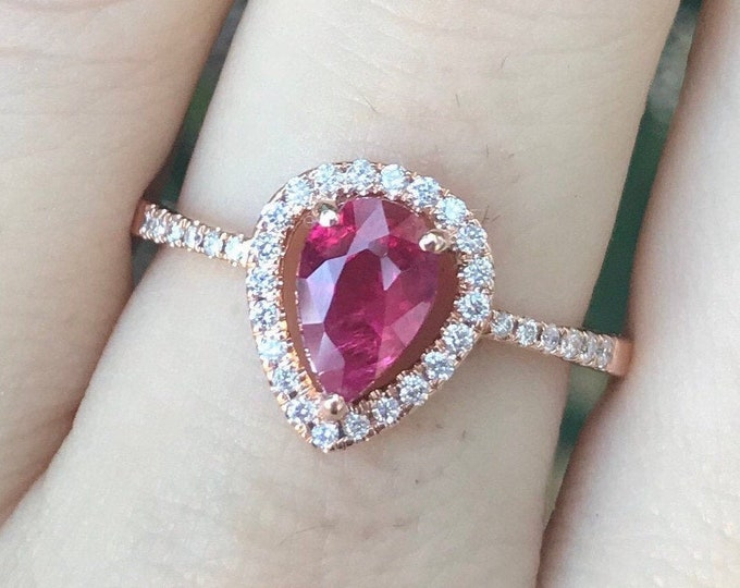 0.88ct Genuine Ruby Engagement Ring- Rose Gold Natural Ruby Ring- Pear Halo Diamond Ruby Anniversary Ring- Teardrop Ruby Solitaire Ring