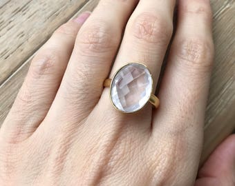 Rose Quartz Statement Ring- Gold Pink Ring- Oval Pink Simple Ring- Faceted Bezel Ring- Pink Quartz Silver Ring-