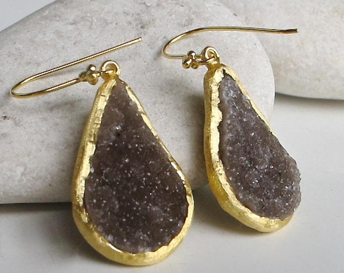 Large Brown Druzy Pear Earring- Real Druzy Statement Boho Earring- Raw Rough Stone Dangle Earring- Drop Long Teardrop Crystal Earring