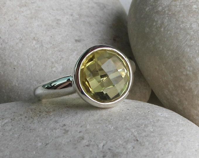 Lemon Quartz Ring Size 7- Round Yellow Quartz Ring- Solitaire Yellow Gemstone Ring- Yellow Topaz Ring- Simple Yellow Ring- Stacking Ring