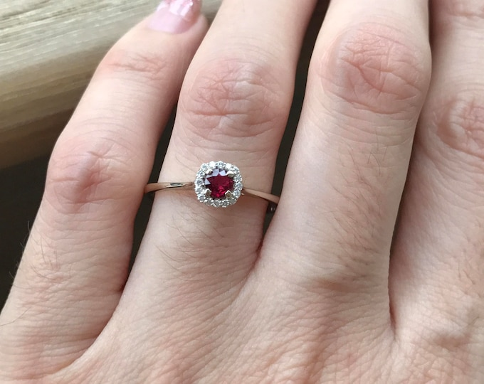 Genuine Small Ruby Engagement Ring- Dainty Ruby Promise Ring- Halo Ruby Anniversary Ring- Simple Ruby Engagement Ring- July Birthstone Ring