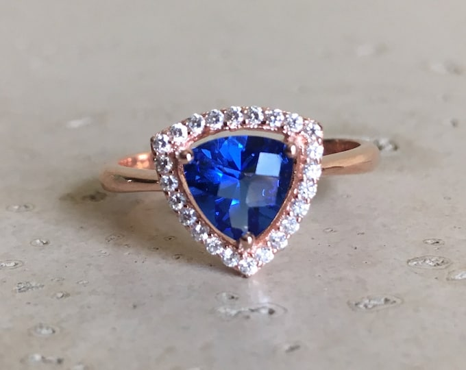 Rose Gold Ring- Blue Sapphire Ring- Triangle Engagement Ring- Halo Promise Ring- Classic Anniversary Ring- Trillion Cut Ring