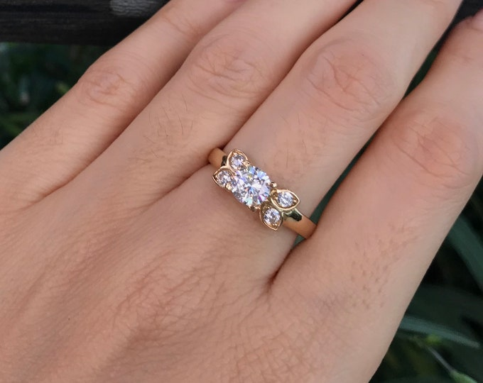 Simulant Round Diamond 0.50ct Engagement Yellow Gold Ring- Floral Promise Ring for Her- Non Diamond Alternative Colorless Engagement Ring