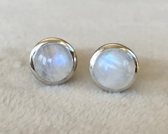 Rainbow Moonstone Stud Earring- Bohemian  Round Moonstone Earrings- Sterling Silver Stud Earrings- June Birthstone Earring