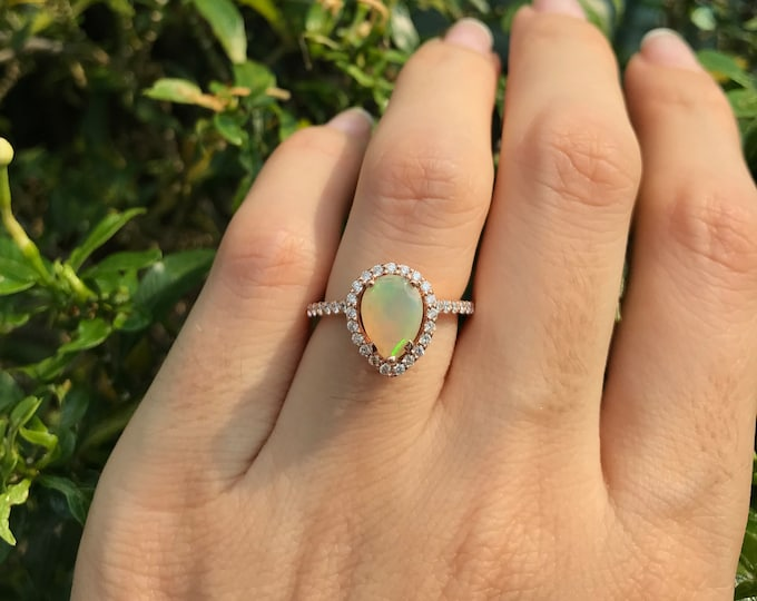 Halo Opal Engagement Ring- Rose Gold Opal Engagement Ring- Pear Shape Opal Engagement Ring- Fire Opal Promise Ring