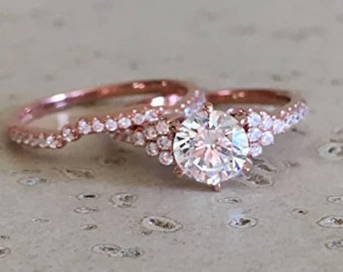 Rose Gold Engagement Ring Set- Art Deco Bridal 2 Ring Set- Colorless Alternative Diamond Engagement Ring- Clear Gemstone Non Diamond Ring
