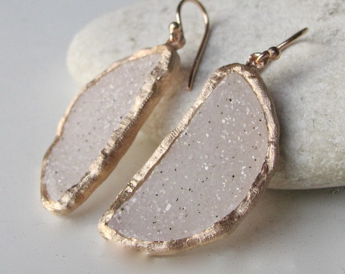 Rose Gold Druzy Earring- Unique Drusy Dangle Earring- Statement Druzy Earring- Unique Bridal Earrings- Jewelry Gifts for Her