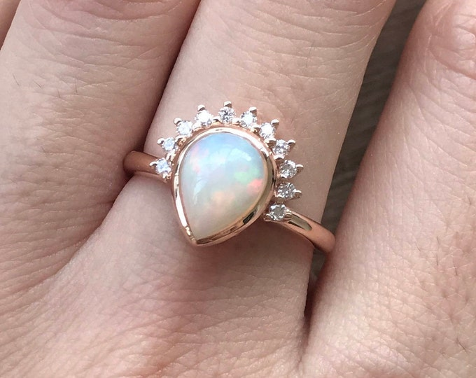 Unique Opal Engagement Ring- Rose Gold Opal Ring- Opal Diamond Engagement Ring- Rose Gold Promise Ring- October Birthstone Ring