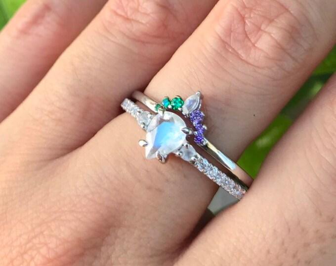 Moonstone Teardrop Engagement Ring Set- Rainbow Moonstone Bridal Ring Set- Customize Halo Nesting Contour Wedding Band
