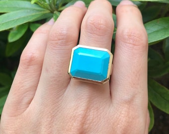 Turquoise Gold Ring- Blue Turquoise Rectangular Statement Ring- Genuine Large Turquoise Minimal Ring- Natural Turquoise Sleeping Beauty Ring