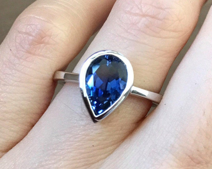 Pear Sapphire Engagement Ring- Simple Blue Sapphire Promise Ring for Her- Dark Blue Gemstone Anniversary Ring- September Birthstone Ring
