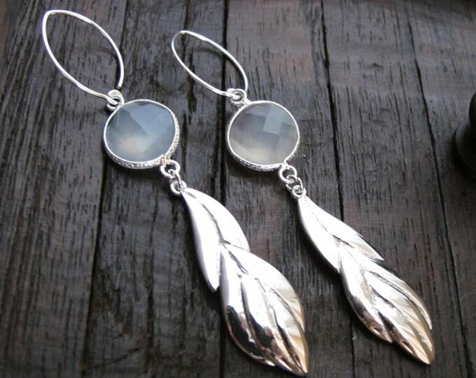Long Dangle Leaf Earring- Bohemian Statement Earring- Gray Drop Earring- Unique Bold Earring- Sterling Silver Boho Earring
