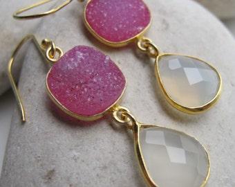Moonstone Earring- Gemstone Earring- Druzy Earring- Statement Earring- Pink Druzy Earring- Quartz Earring- Silver Druzy Earring- Earring