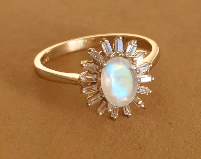 Art Deco Moonstone Engagement Ring- Vintage Halo Oval Moonstone Promise Ring for Her-Moonstone Anniversary Ring-Baguette Halo Solitiare Ring