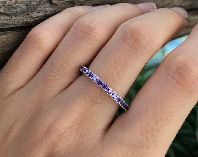 Purple Crystal Eternity Band-Purple Cubic Zirconia Band- Purple Amethyst Band- Stackable Purple Stone Band- Sterling Silver Band
