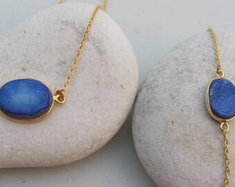 Blue Druzy Necklace Bracelet Set- Oval Gemstone Simple Jewelry Set- Oval Stone Bracelet Necklace- Druzy Jewelry