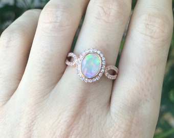 Opal Rose Gold Engagement Ring, Genuine Oval Opal Promise Ring for Her, Opal with White Sapphire Solitaire Ring, October Birthstone Ring
