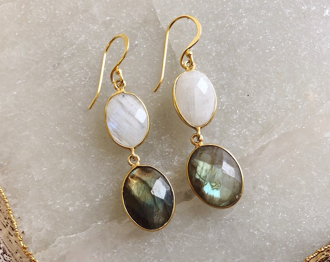 Bohemian Moonstone Labradorite Dangle Earring- Long Natural Two Stone Drop Earring- Handmade Genuine Gemstone Double Drop Oval Earring
