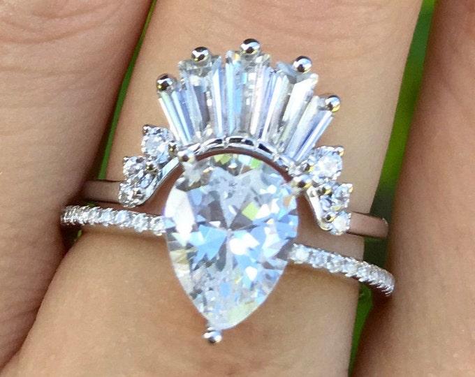 Vintage Diamond Engagement Ring- Cubic Zirconia Wedding Ring Set- Art Deco Teardrop Bridal Ring Set- Diamond Simulant Antique Baguette Ring