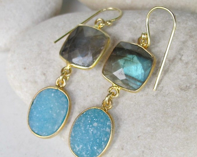 Druzy Danlge Labradorite Earring Blue Druzy Earring Gold Earring Double Drop Gemstone Long Earring Boho Festive Handmade Earring