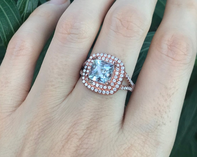 1.60 ct Square Aquamarine Halo Engagement Ring- Cushion Genuine Aquamarine Double Split Ring-Blue Stone Solitaire Ring-March Birthstone Ring