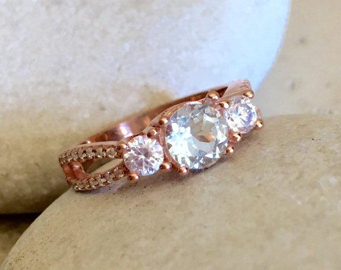Rose Gold Aquamarine Ring- Aquamarine Promise Ring- Aquamarine Engagement Ring- Three Stone Ring- March Birthstone Ring- Double Band Ring