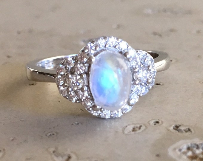 Deco Moonstone Promise Ring- Rainbow Moonstone Engagement Ring- Oval Smooth Moonstone Ring- Halo Sterling Silver Ring- June Birthstone Ring