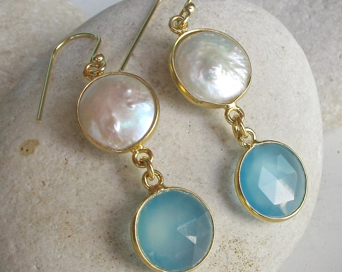 2 Stone Long Dangle Earring- Handmade Pearl Colorful Earring- Double Drop Circle Earring- Gold Gemstone Earring Mixed Gemstone Boho Earring