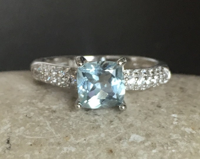 Aquamarine Engagement Ring- Promise Ring for Her- Aquamarine Square Prong Ring- Genuine Aquamarine Ring- Princess Cut Ring- March Ring