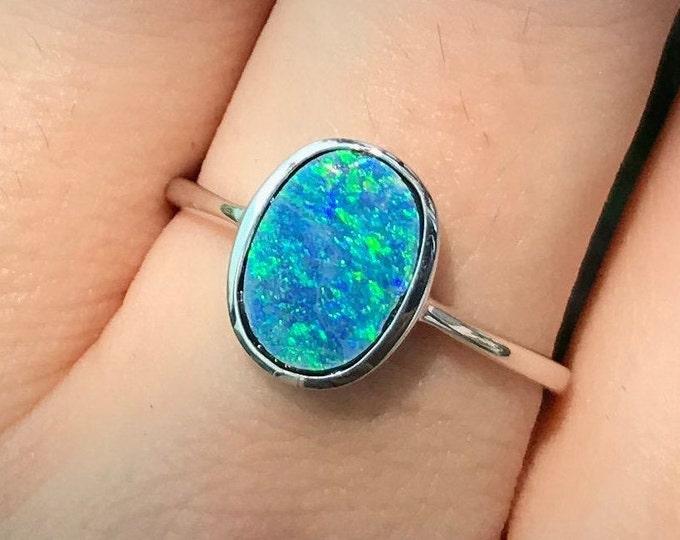 Australian Opal Doublet Sterling Silver Ring- Fire Opal Oval Minimalist Ring- Unique Opal Bezel Bohemian Ring- Iridescent Rainbow Opal Ring