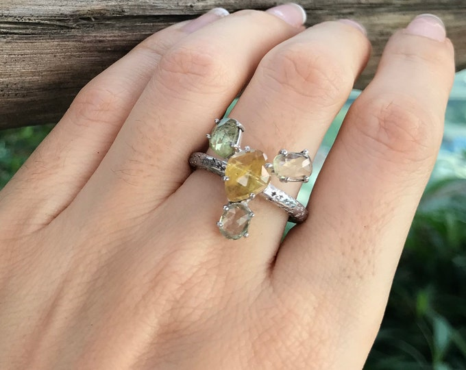 Cluster Yellow Green Sapphire Celestial Statement Ring Whimsical Uniique Gemstone Galaxy Ring