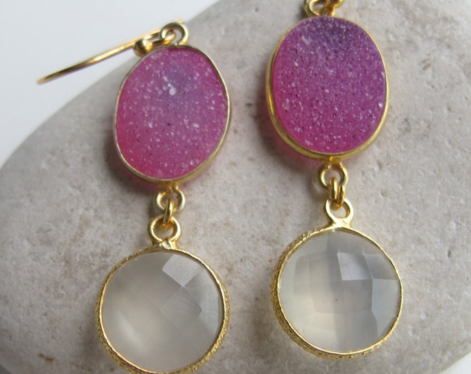 Pink Druzy Earrings- Drusy Earrings- Quartz Earrings- Gemstone Earrings- Stone Earrings- Bridesmaids Earring- Bridal Earrings- Topaz Earring