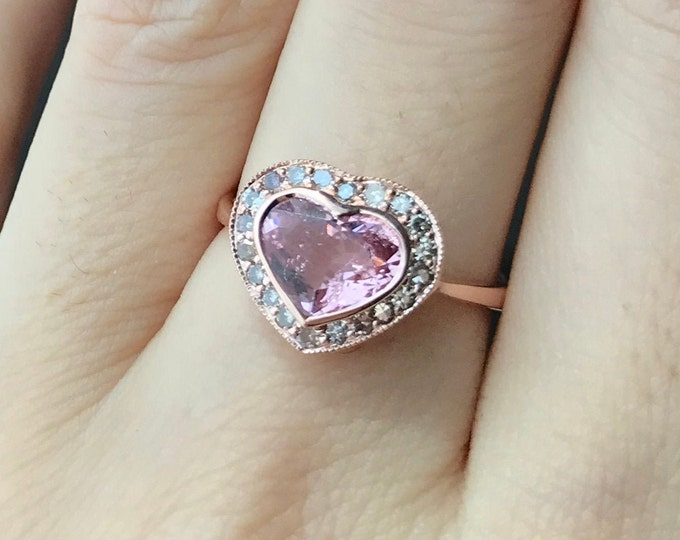Heart Pink Tourmaline Rose Gold Ring- Tourmaline Halo Engagement Ring- Heart Shaped Promise Ring for Her- Pink Stone Valentine Ring