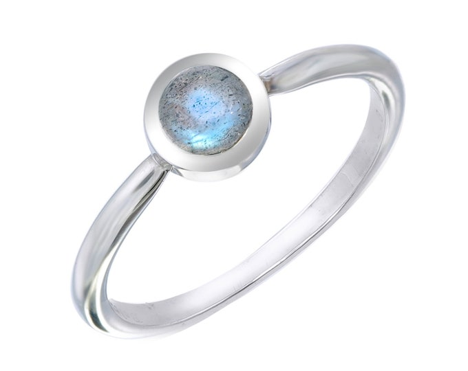 Labradorite Tiny Stackable Round Ring- Silver Simple Labradorite Ring- Gifts under 30- Smooth Iridescent Dainty Boho Ring- Child Teen Ring