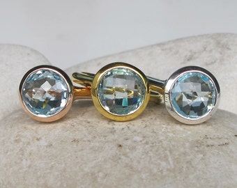 Blue Topaz Round Ring- Rose Gold Topaz Ring- Faceted Blue Solitaire Ring- December Birthstone Ring Blue Gemstone Simple Silver Ring Gold