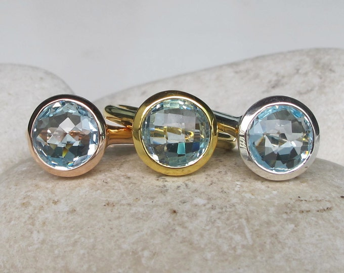 Blue Topaz Round Silver Ring- Rose Gold Ring- Facet Blue Solitaire Ring- December Birthstone Ring Blue Gemstone Simple Silver Ring Gold