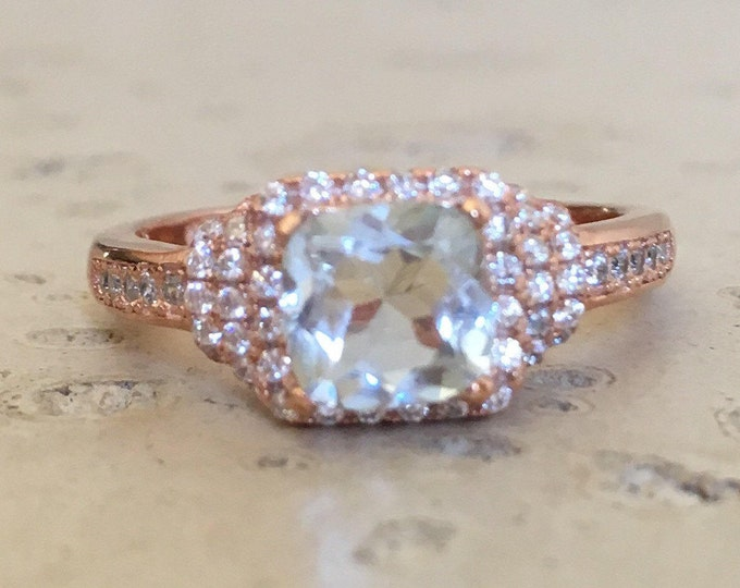 Deco Aquamarine Engagement Ring- Cushion Aquamarine Promise Ring- Rose Gold Aquamarine Ring- Halo Anniversary Ring- March Birthstone Ring