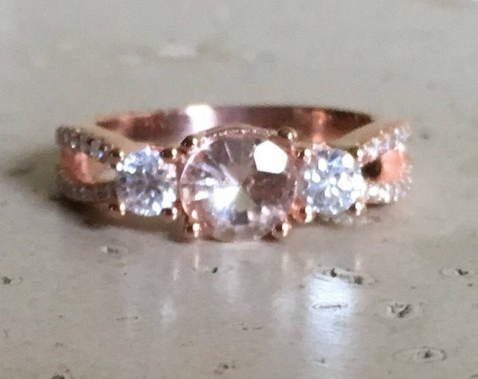 Rose Gold Morganite Ring- Three Stone Anniversary Ring- Morganite Promise Bohemian Ring- Morganite Engagement Ring- Double Band Boho Ring