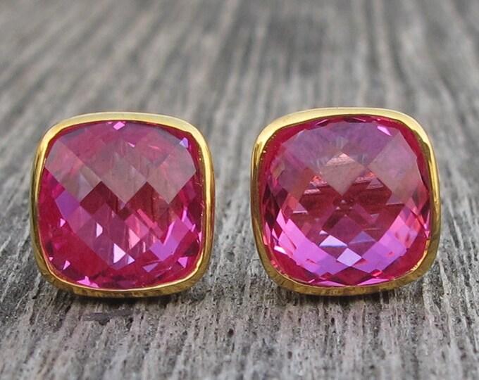 Fuschia Pink Square Stud Earring- Pink Topaz Bezel Earring- Pink Quartz Earring- Rose Gold Pink Stone Earring- Cushion Hot Pink Earring