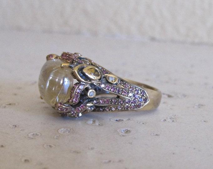 Gold Rutile Statement Ring- Unique Designer Ring- Avant Garde Jewelry-