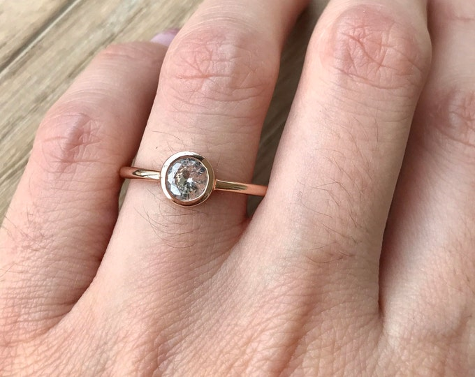 14k Rose Gold Sapphire Ring- White Sapphire Engagement Ring- Sapphire Promise Ring for Her- Simple Bridal Ring- September Birthstone Ring