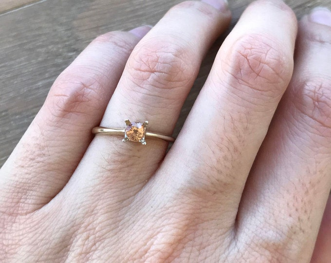 Simple Peach Sapphire Ring- Peach Sapphire Promise Ring- Tiny Sapphire Engagement Ring- Minimalist Anniversary Ring- 18k White Gold Ring