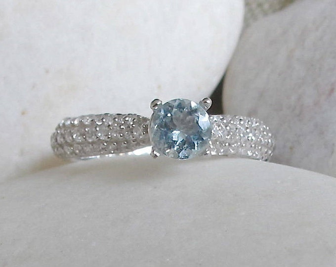 Simple Aquamarine Promise Ring- Aquamarine Engagement Ring- Blue Gemstone Anniversary Ring- Round Solitaire Ring- March Birthstone Ring