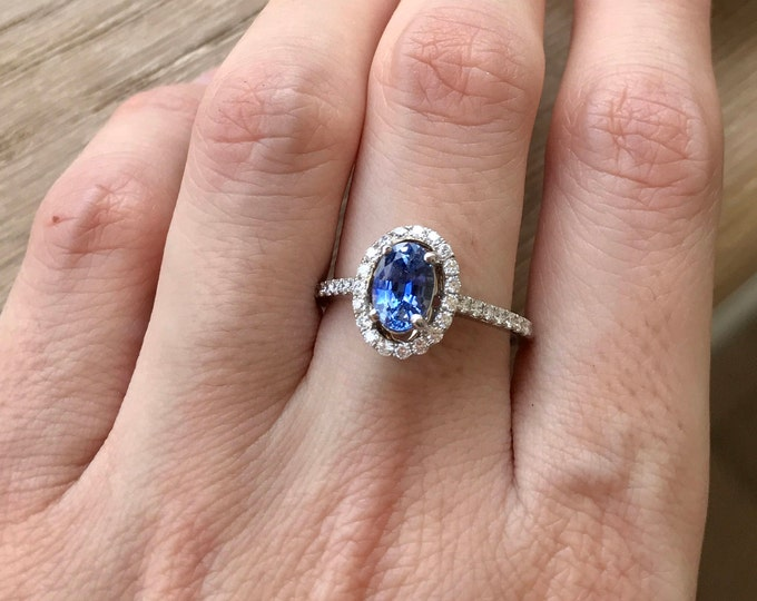 Blue Sapphire Engagement Ring- Sapphire Anniversary Ring- Halo Promise Ring- September Birthstone Ring- Alternative Diamond Engagement Ring