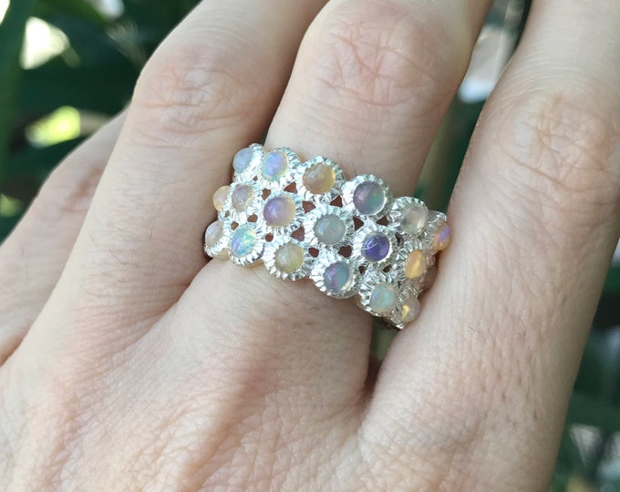 Genuine Opal Wide Band- Natural Fire Opal Wedding Band- October Birthstone Band Ring- 3 Tier Opal Band Ring- Statement Opal Bubble Band