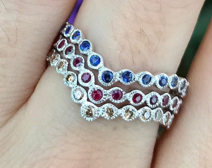 Chevron Wedding V Eternity Band- Vintage Curved Nesting Contour Women Band- Sapphire Ruby Champagne Diamond Band- White Rose Yellow Gold